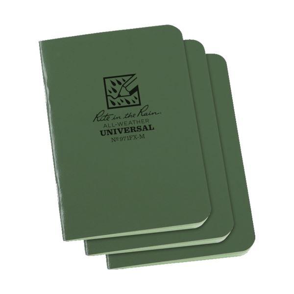 (まとめ) ライトインザレインミニステイプルノートブック グリーン 971FX-M 1パック(3冊) 【×10セット】【日時指定不可】