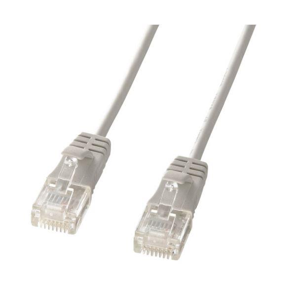 (まとめ) サンワサプライカテゴリ6準拠極細LANケーブル ライトグレー 2m KB-SL6-02 1本 【×10セット】【日時指定不可】