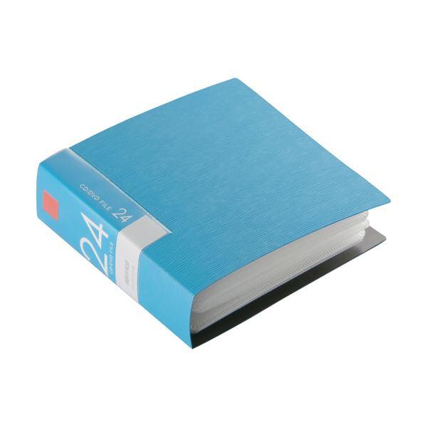 (まとめ) バッファローCD&DVDファイルケース ブックタイプ 24枚収納 ブルー BSCD01F24BL 1個 【×30セット】【日時指定不可】