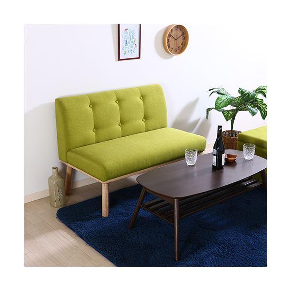 北欧風 ダイニングソファー/食卓椅子 2P 【グリーン】 幅1025mm 木製 ファブリック地 『Natural Signature ヘームル』 〔店舗〕【代引不可】【日時指定不可】