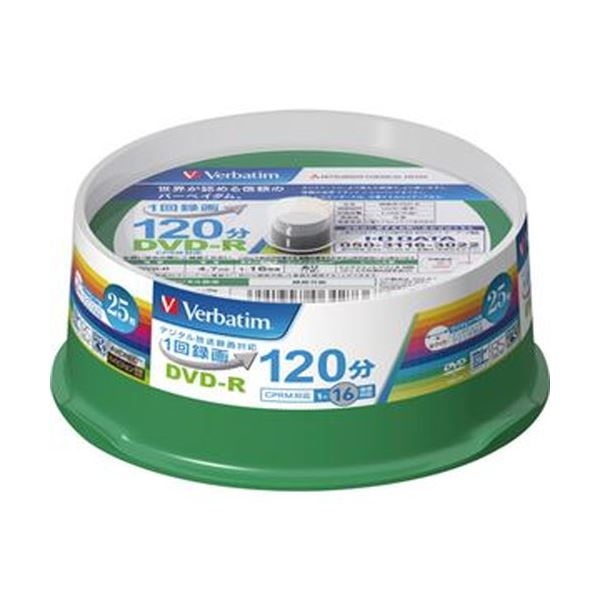 (まとめ)バーベイタム 録画用DVD-R 120分1-16倍速 ホワイトワイドプリンタブル スピンドルケース VHR12JP25V1 1パック(25枚)【×10セット】【日時指定不可】