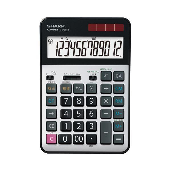 (まとめ)シャープ 実務電卓 12桁セミデスクタイプ CS-S952-X 1台【×3セット】【日時指定不可】