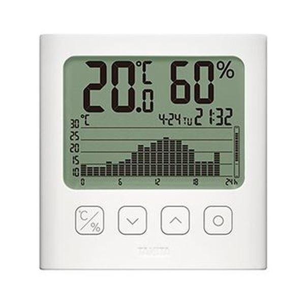 (まとめ)タニタ グラフ付きデジタル温湿度計ホワイト TT-580-WH 1個【×3セット】【日時指定不可】