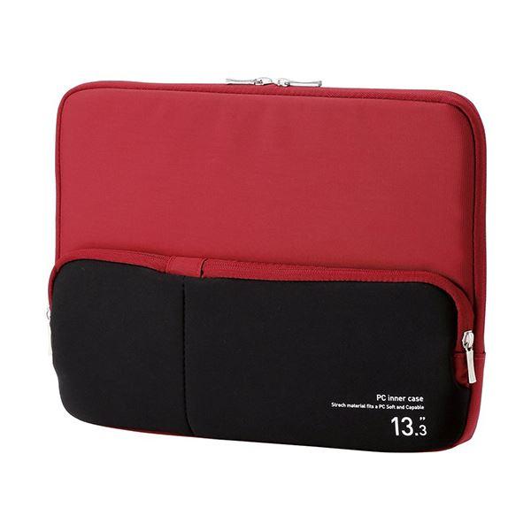 (まとめ) エレコム ポケット付きPCインナーバッグ13.3インチノートPC対応 レッド BM-IBPT13RD 1個 【×5セット】【日時指定不可】