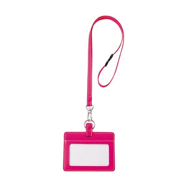 (まとめ) フロント 本革製IDネームカードホルダー ヨコ型 ストラップ付 ピンク INCHD-P 1個 【×10セット】【日時指定不可】