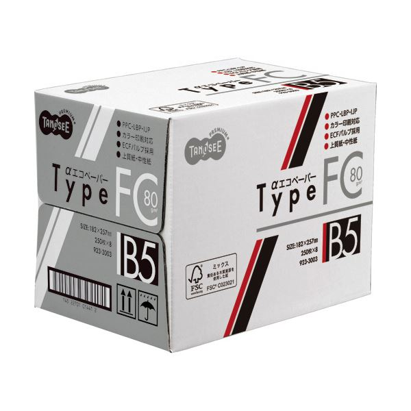 (まとめ) TANOSEE αエコペーパータイプFC B5 標準 80g 1セット(2000枚:250枚×8冊) 【×5セット】【日時指定不可】