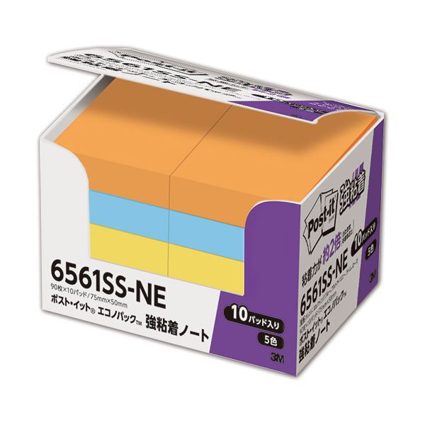 (まとめ) 3M ポスト・イット 強粘着エコノパック ノート 75×50mm ネオンカラー 5色混色 6561SS-NE 1パック(10冊) 【×10セット】【日時指定不可】
