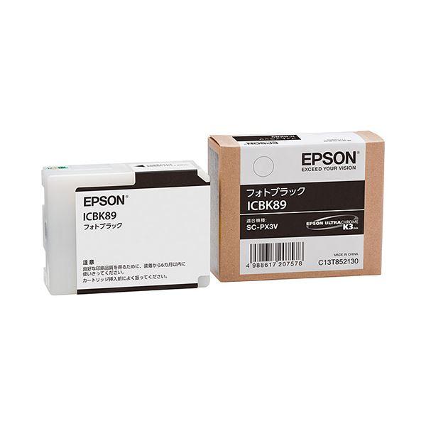 (まとめ) エプソン EPSON インクカートリッジ フォトブラック ICBK89 1個 【×10セット】【日時指定不可】