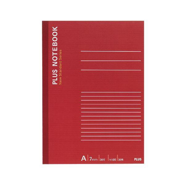 (まとめ) プラス ノートブック セミB5A罫7mm 30枚 レッド NO-003AS 1冊 【×300セット】【日時指定不可】