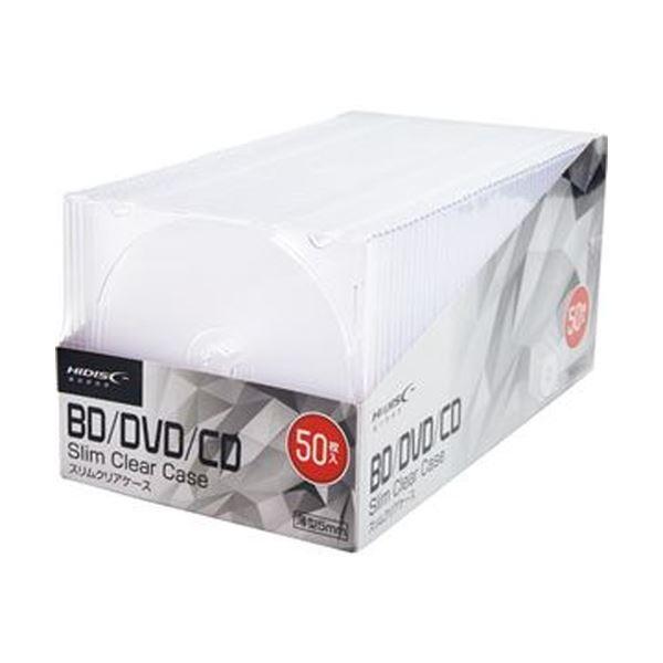(まとめ)ハイディスク CD/DVDケース 1枚収納 5mmスリムケース クリア ML-CD05S50PCR 1パック(50枚)【×10セット】【日時指定不可】