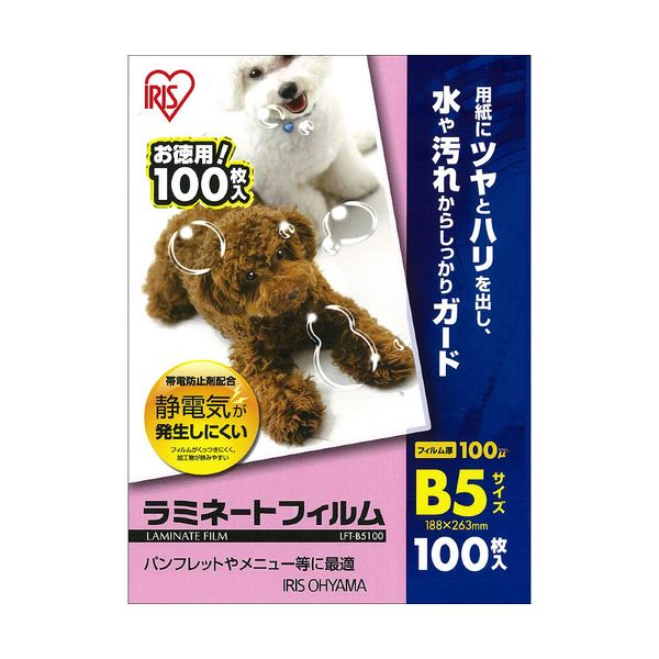 (まとめ) アイリスオーヤマ ラミネートフィルムB5 100μ LFT-B5100 1パック(100枚) 【×10セット】【日時指定不可】