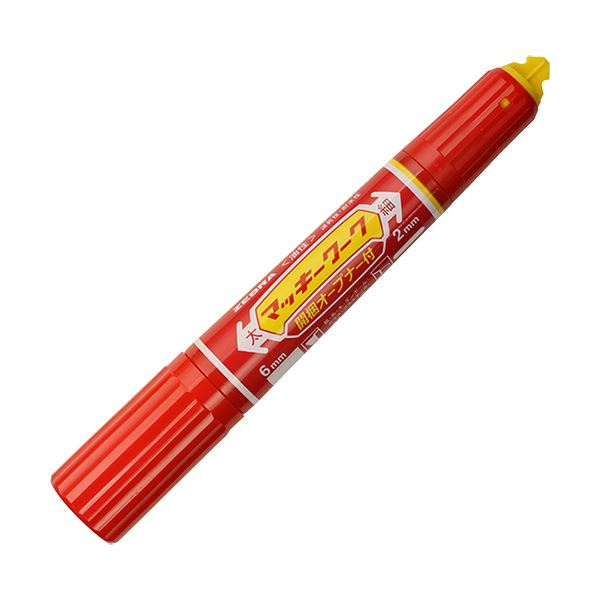 (まとめ) ゼブラ 油性マーカー マッキーワーク角芯太字+丸芯細字 赤 P-YYT21-R 1本 【×50セット】【日時指定不可】