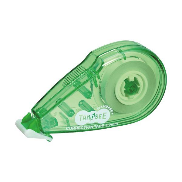 (まとめ) TANOSEE 修正テープ 4.2mm幅×8m グリーン 1セット(20個) 【×5セット】【日時指定不可】
