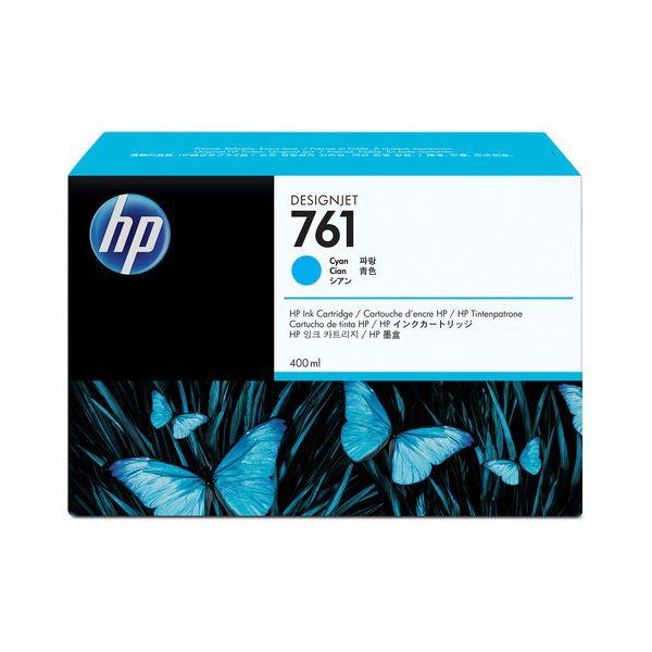 (まとめ) HP761 インクカートリッジ シアン 400ml 染料系 CM994A 1個 【×10セット】【日時指定不可】