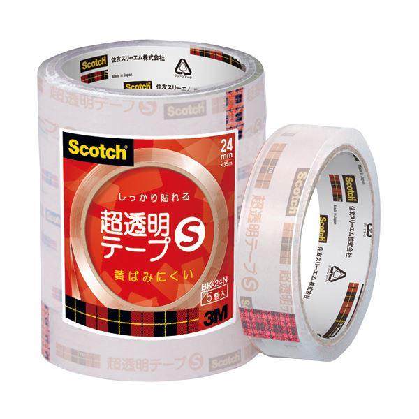 (まとめ) 3M スコッチ 超透明テープS24mm×35m BK-24N 1パック(5巻) 【×30セット】【日時指定不可】
