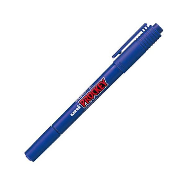 (まとめ) 三菱鉛筆 水性マーカー プロッキー 細字丸芯+極細 青 PM120T.33 1本 【×100セット】【日時指定不可】