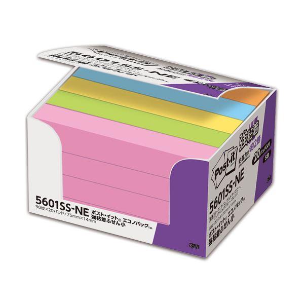 (まとめ) 3M ポスト・イット 強粘着エコノパック ふせん 小 75×14mm ネオンカラー 5色混色 5601SS-NE 1パック(20冊) 【×10セット】【日時指定不可】