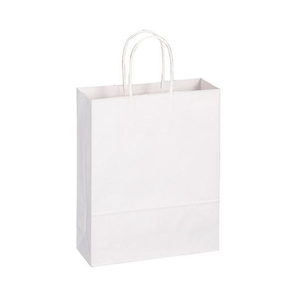 (まとめ) TANOSEE 手提袋 丸紐 小 ヨコ260×タテ320×マチ幅100mm 白無地 1パック(50枚) 【×10セット】【日時指定不可】