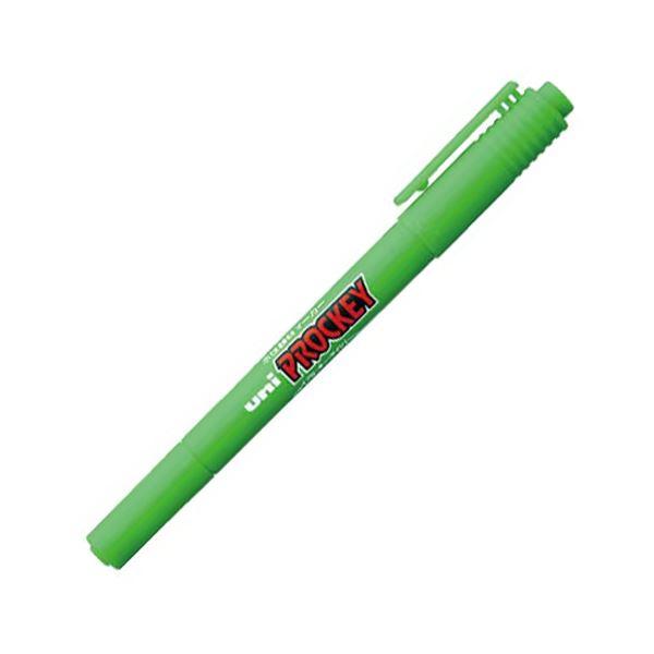 (まとめ) 三菱鉛筆 水性マーカー プロッキー 細字丸芯+極細 黄緑 PM120T.5 1本 【×100セット】【日時指定不可】