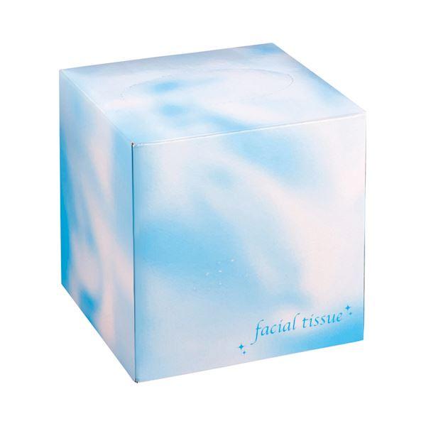 キューブ型で省スペース!!パウダールームにおすすめのフェイシャルテイッシュ。 (まとめ)大一紙工 フェイシャルティッシュ サイコロBOX 80組/箱 ブルー 1セット(50箱) 【×3セット】【日時指定不可】