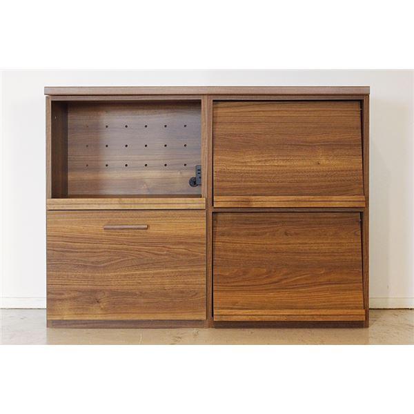 エフィーノ 収納家具 (幅120cm天板+マガジン+OP引出) ブラウン 【完成品】【代引不可】【日時指定不可】