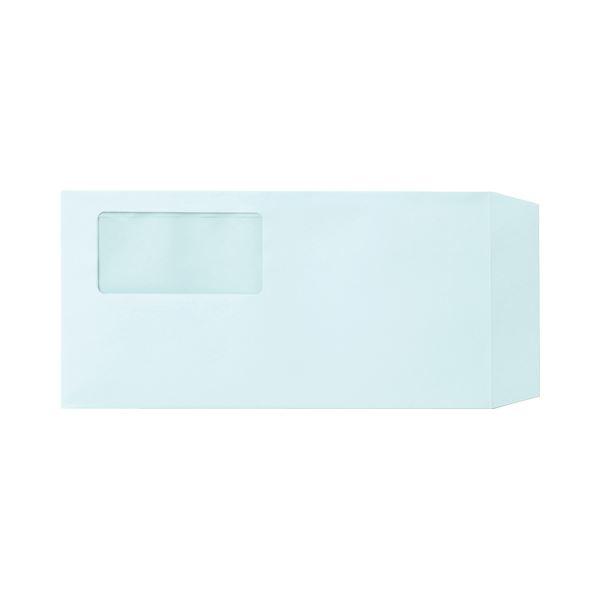 (まとめ)TANOSEE 窓付封筒 ワンタッチテープ付 長3 80g/m2 ブルー 業務用パック 1箱(1000枚)【×3セット】【日時指定不可】