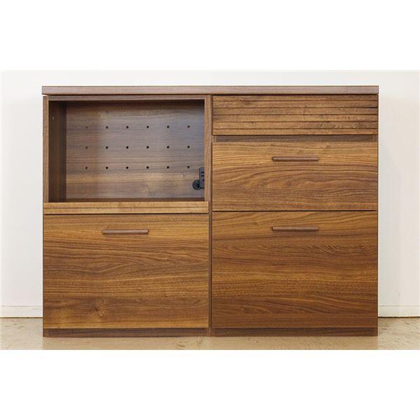 エフィーノ 収納家具 (幅120cm天板+OP引出+チェスト) ブラウン 【完成品】【代引不可】【日時指定不可】