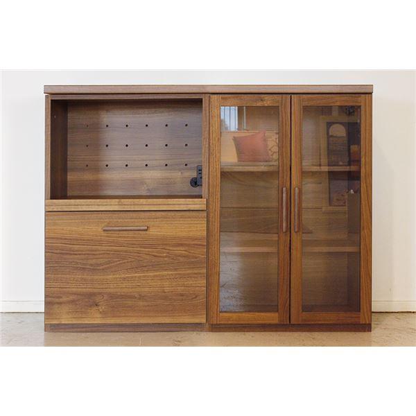 エフィーノ 収納家具 (幅120cm天板+OP引出+ガラス扉) ブラウン 【完成品】【代引不可】【日時指定不可】