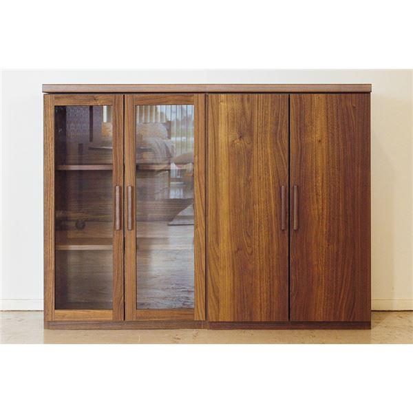 エフィーノ 収納家具 (幅120cm天板+ガラス扉+板戸) ブラウン 【完成品】【代引不可】【日時指定不可】