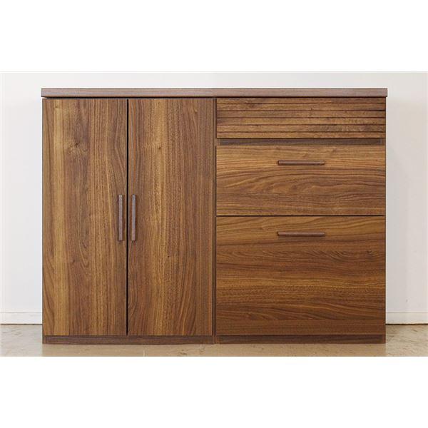 エフィーノ 収納家具 (幅120cm天板+板戸+チェスト) ブラウン 【完成品】【代引不可】【日時指定不可】