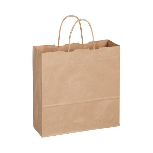 (まとめ) TANOSEE 紙手提袋 丸紐 中 ヨコ320×タテ320×マチ幅115mm 茶 1パック(50枚) 【×10セット】【日時指定不可】