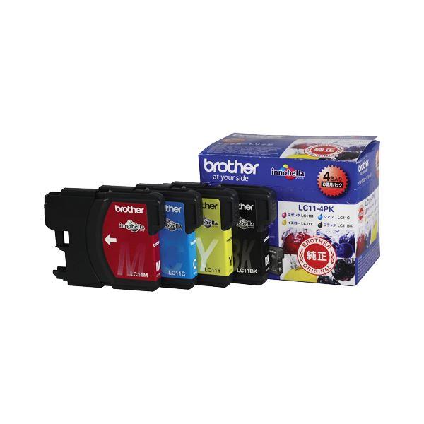 (まとめ) ブラザー BROTHER インクカートリッジ お徳用 4色 LC11-4PK 1箱(4個:各色1個) 【×10セット】【日時指定不可】