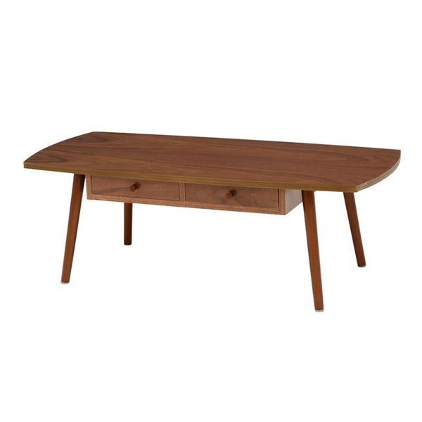 センターテーブル/ローテーブル 【ブラウン 幅110×奥行48×高さ37cm】 引き出し 木製脚付き 組立式 R6353BR 〔リビング〕【代引不可】【日時指定不可】