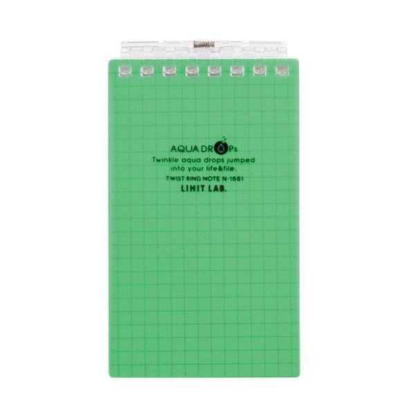 (まとめ) リヒトラブ AQUA DROPsツイストノート(メモサイズ) 125×72mm 8穴 5mm方眼罫 黄緑 40枚 N-1661-6 1冊 【×50セット】【日時指定不可】