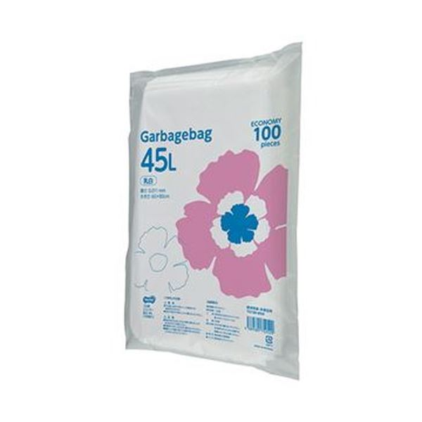 (まとめ)TANOSEE ゴミ袋エコノミー乳白半透明 45L 1パック(100枚)【×20セット】【日時指定不可】