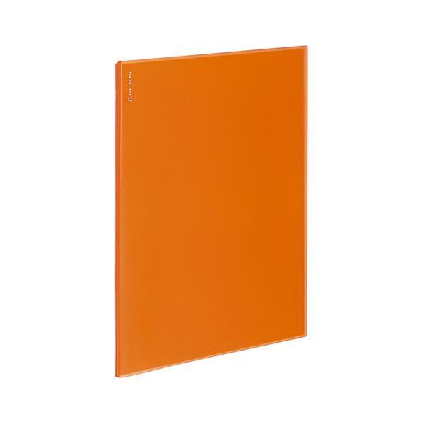 (まとめ)コクヨ ラ-NF6YR ポケットファイルα(ノビータα)固定式 A4タテ 1セット(10冊)【×5セット】【日時指定不可】 背幅3mm 6ポケット オレンジ