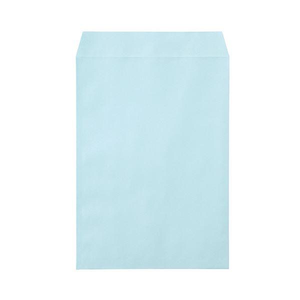 (まとめ)寿堂 カラー上質封筒 角2 〒枠なしサイド貼 テープのり付 ミズ 10557 1パック(500枚)【×3セット】【日時指定不可】