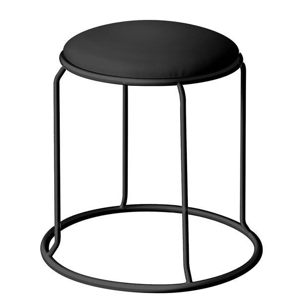 北欧風 スツール/丸椅子 【同色5脚セット ブラック×ブラック】 幅415mm スチール ビニールレザー 『レザー リンクスツール』【代引不可】【日時指定不可】