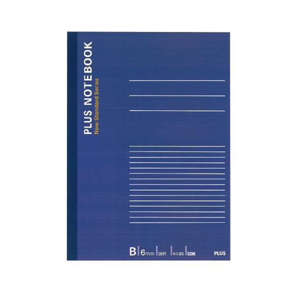 (まとめ) プラス ノートブック セミB5B罫6mm 50枚 ネイビー NO-005BS 1冊 【×100セット】【日時指定不可】