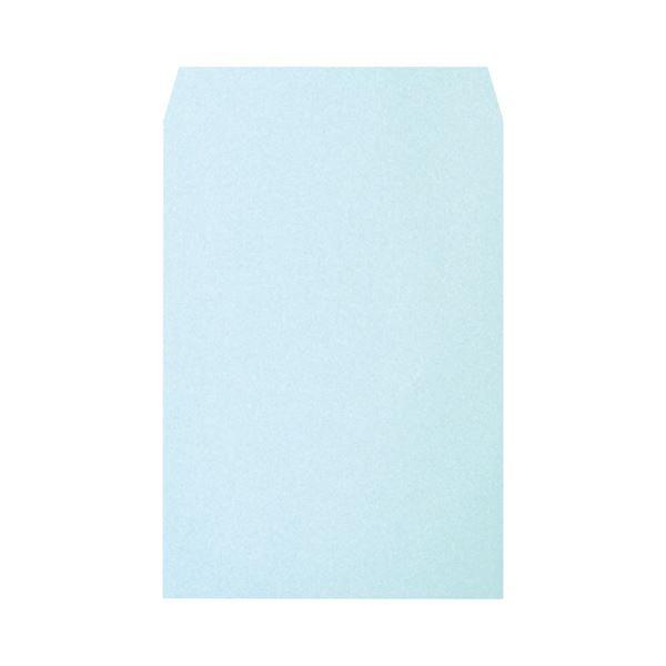 (まとめ) ハート 透けないカラー封筒ワンタッチテープ付 角2 100g/m2 パステルブルー XEP471 1パック(100枚) 【×5セット】【日時指定不可】