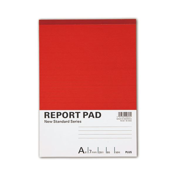 (まとめ) プラス レポートパッド B5 A罫50枚 RE-050A 1冊 【×100セット】【日時指定不可】