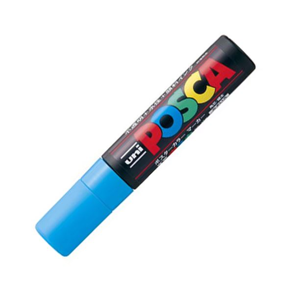 (まとめ) 三菱鉛筆 水性マーカー ポスカ 極太角芯 水色 PC17K.8 1本 【×30セット】【日時指定不可】