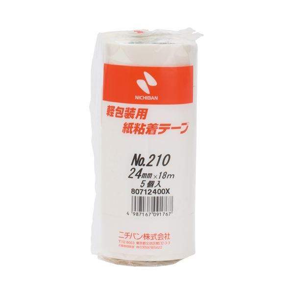 (まとめ)ニチバン 紙粘着テープ 210-24 白 24mm×18m 5巻【×30セット】【日時指定不可】