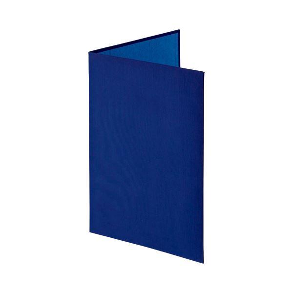 ナカバヤシ 証書ファイル 布クロス A4二つ折り 透明コーナー貼り付けタイプ 紺 FSH-A4C-B 1セット(10冊)【日時指定不可】