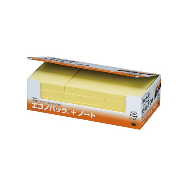 (まとめ) 3M ポストイット エコノパック ノート 再生紙 75×50mm イエロー 6561-Y20 1パック(12冊) 【×5セット】【日時指定不可】