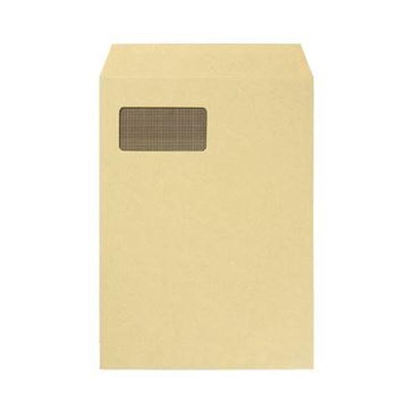 (まとめ)TANOSEE 窓付封筒 裏地紋付 A4テープのりなし 85g/m2 クラフト(窓:グラシン紙)1パック(100枚)【×5セット】【日時指定不可】