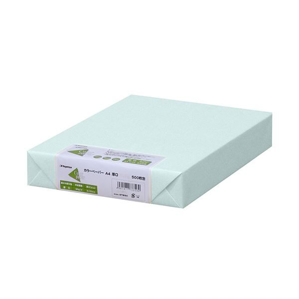 (まとめ) 長門屋商店 Color Paper A4厚口 水 ナ-3360 1冊(500枚) 【×5セット】【日時指定不可】