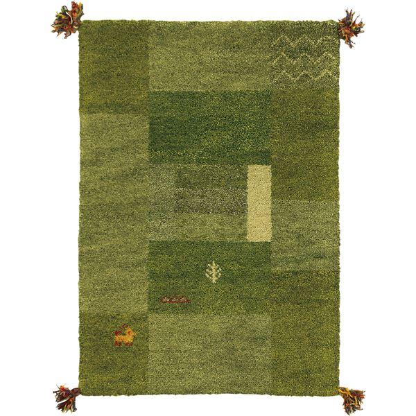 ギャッベ ラグマット/絨毯 【約60×90cm グリーン】 ウール100% 保温性 調湿効果付き オールシーズン対応 〔リビング〕【代引不可】【日時指定不可】