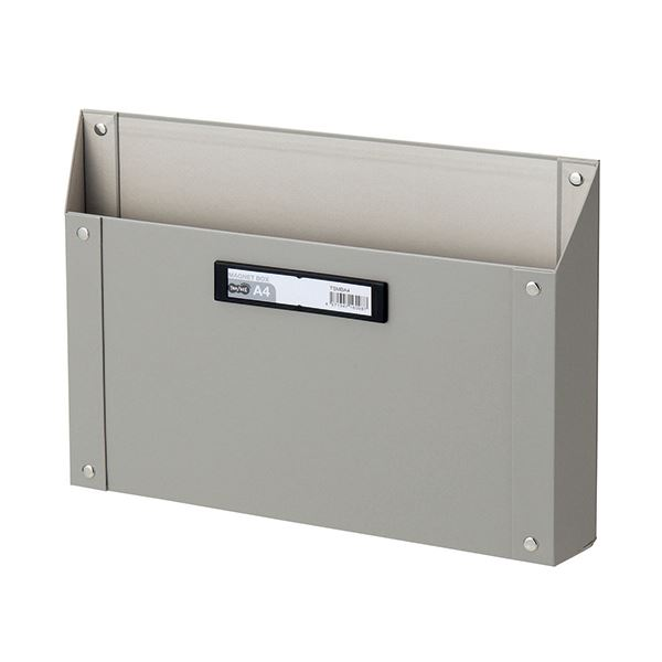 (まとめ) TANOSEE マグネットボックス(貼り表紙) A4サイズ グレー 1個 【×10セット】【日時指定不可】