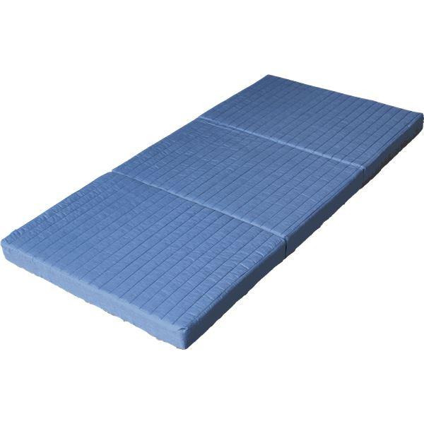 キルトバランスマットレス/寝具 【ダブルサイズ】 厚さ10cm 側地:わた入りボーダーキルト ブルー【日時指定不可】